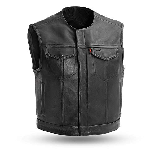 First MFG Co.- Lowside - Platinum Leather Motorcycle Vest for Men   Men's Club Style Leather Vest...