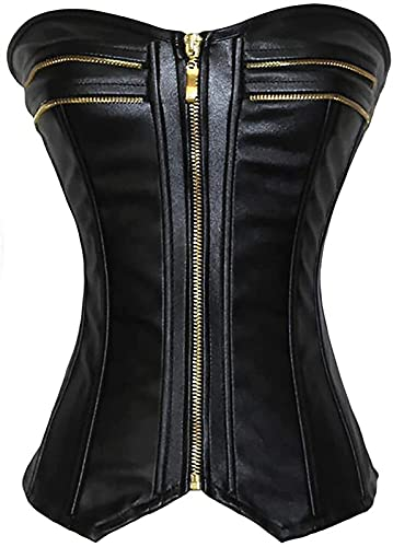 MCE Women's Leather Corsets Zippered Dress Bottoming Corset Leather Gothic Cosplay Halloween Club...