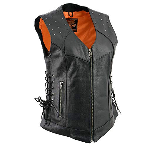 Milwaukee Leather MLL4504 Women's 'Riveted' Black Leather Vest with Side Laces - Small