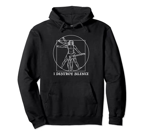 Punk rock star Vitruvian man with electric guitar Pullover Hoodie