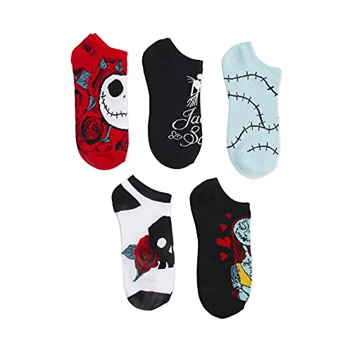 Disney womens Nightmare Before Christmas 5 Pack No Show Casual Sock, Black Primary, Fits Sock Size...