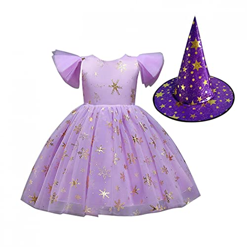 Witch Girls Kids Child Halloween Dance Party Gown Costume Queen Princess Dress+Hat for 1-8 Y