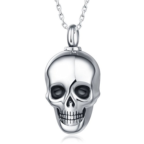 UNY Trendy Stainless Steel Skull Pet Urn Ashes Pendant Memorial Ash Keepsake Cremation Necklace...
