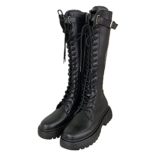 Thicken Winter Knight Boots Women Knee High Long Square Heel Boots Retro Thick Motorcycle Boots...