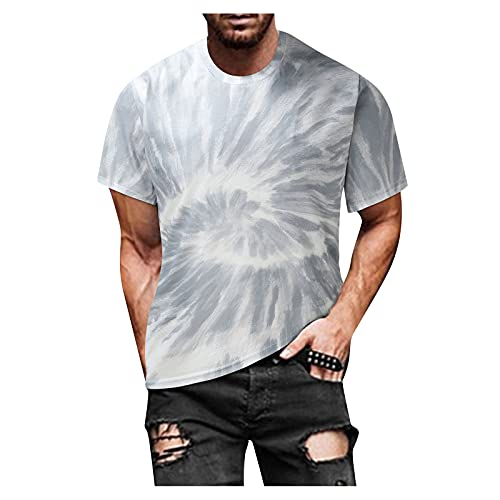 FUNEY Fashion Mens Hip Hop Tie-Dyed Hipster Colorful T Shirts Casual Crewneck Short Sleeve Vintage...