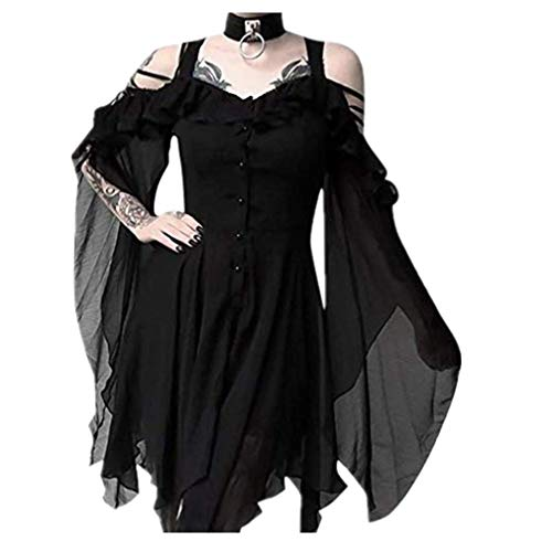 TWGONE Plus Size Gothic Dresses for Women Special Occasion Dark in Love Ruffle Sleeves Off Shoulder...