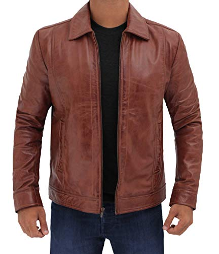 Blingsoul Distress Brown Vintage Leather Jackets for Men | [1100371] Wick, XS