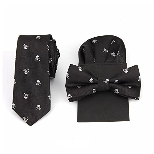 Hello Tie Unisex Skull & Crossbones Skinny Tie with Pocket Square and Bow tie Sets, White Skull, One...