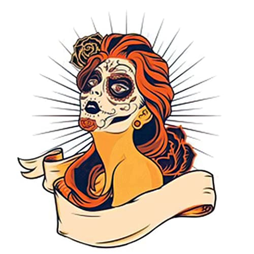 6 Sheets Temporary Fake Tattoos Day of the Dead Colorful Sugar Skull Girl with Floral Ornament and...