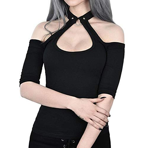 Short Sleeve T-Shirt for Women Sexy Gothic Punk Bandage Lace Off Shoulder Backless Blouse Tee Shirt...