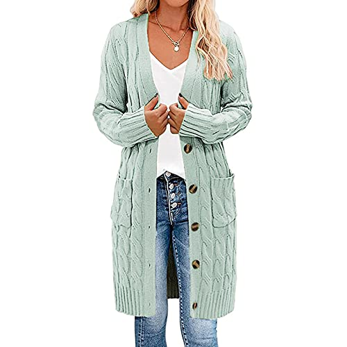 Cable Knit Open Front Cardigan Sweaters Button Down Long Sleeve Outwear with Pockets Women Tops...