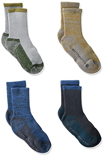 Carhartt Boys' Cold Weather Cushioned Crew Socks 4 Pair, Blue, Shoe Size: 7.5-11