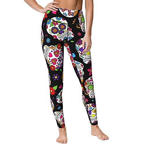 KUOAICY Colorful Skulls with Flower Yoga Pants Sweatpants Fitness Tummy Control Capris Leggings for...