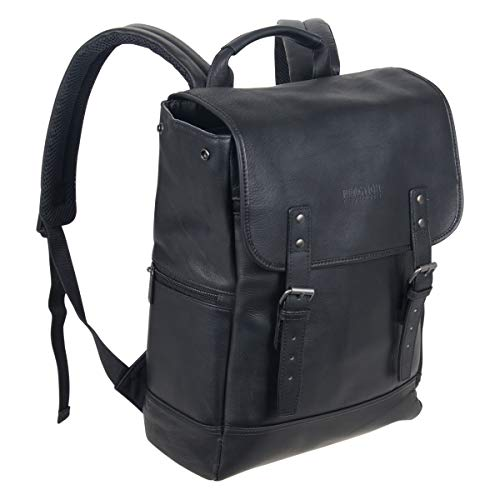 """Kenneth Cole Reaction Colombian Leather Single Compartment Flapover 14.1"""" Laptop Backpack (RFID),..."""