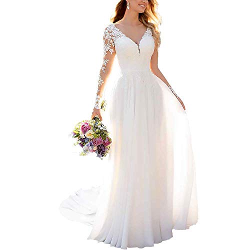 Clothfun Women's V-Neck Lace Beach Wedding Dresses for Bride 2020 Long Sleeve Bridal Gowns Style9...