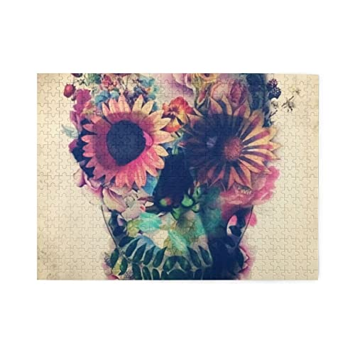 Trippy Skull ?Floral Jigsaw Puzzles500 Pieces Jigsaw Puzzle for Adults Kids 3D Best Gift for...