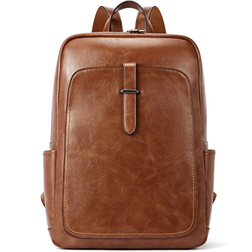 BROMEN Leather Laptop Backpack for Women 15.6 inch Computer Backpack College Travel Daypack Bag...