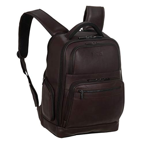 Kenneth Cole Reaction Colombian Leather Double Compartment 15.6' Laptop RFID Backpack Bag, Brown,...
