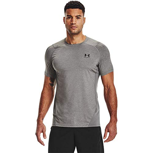 Under Armour Men's Armour HeatGear Fitted Short-Sleeve T-Shirt , Carbon Heather (090)/Black, X-Small