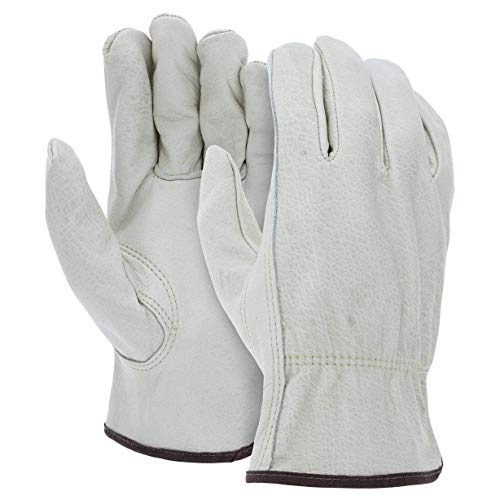 12 Pairs Large Heavy Duty Durable Cowhide Leather Work Gloves I Driver Gloves for Truck Driving,...