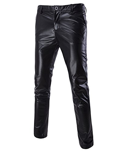 Boyland Mens Casual Night Club Metallic Moto Style Flat Front Faux Leather Pants Novelty Straight...