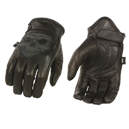 Milwaukee Leather MG7571 Men's 'Reflective Skull' Black Leather Gloves with Cool Tec...