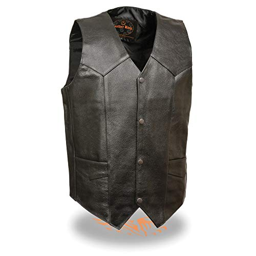 Milwaukee Leather SH1310 Men's Classic Black Leather Vest with Snap Button Closure - 40