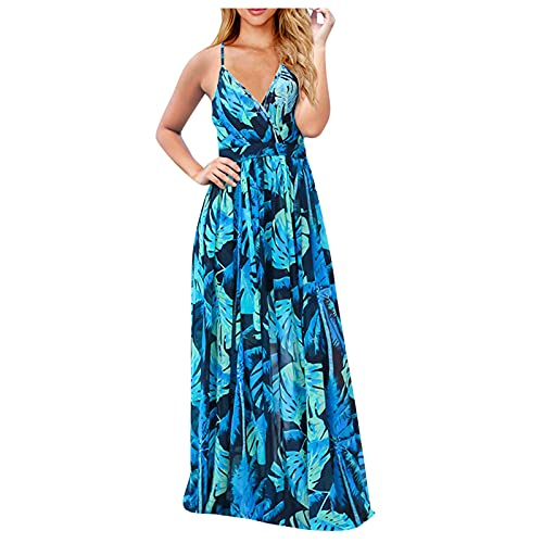 Women's Summer Casual Sleeveless V Neck Strappy Split Loose Dress Beach Cover Up Long Cami Maxi...