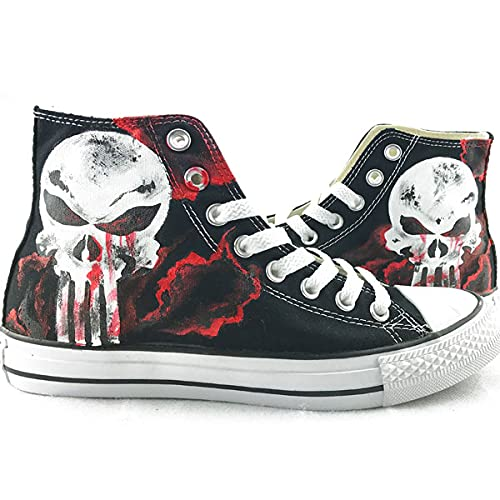 Skull Shoes Hand Painted Shoes Unisex High Top Sneakers Fashion Shoes