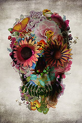 Laminated Poster Service Flower Skull Poster, 24-Inch by 36-Inch