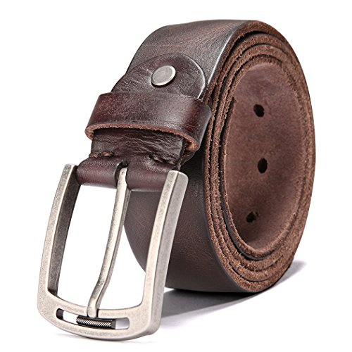 Men's 100% Italian Cow Leather Belt Men With Anti-Scratch Buckle,Packed in a Box (1001-brown, 115cm...