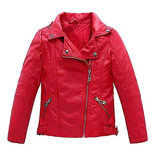 Meeyou Children's Motorcycle Leather Jacket, Faux Leather Coat for Boys (5-6 Years, Red Style)