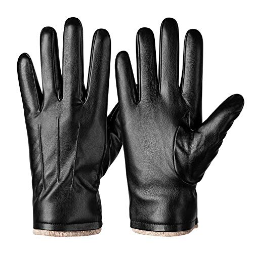 Winter PU Leather Gloves For Men, Warm Thermal Touchscreen Texting Typing Dress Driving Motorcycle...