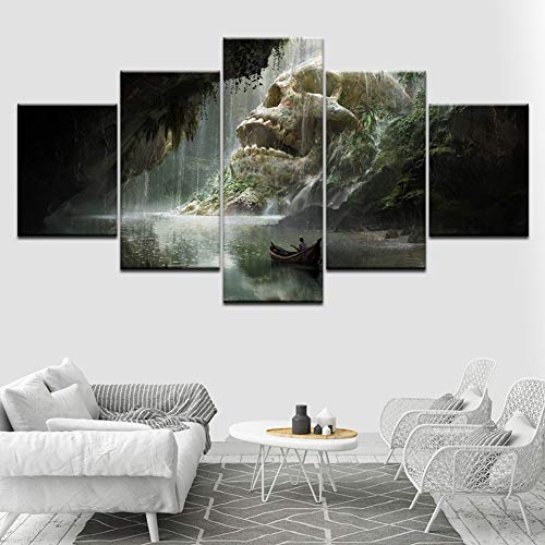 SLFWCLH 5 pictures Canvas Painting Art Station Skull Cave 5 Pieces Canvas Wall Art Painting Modular...