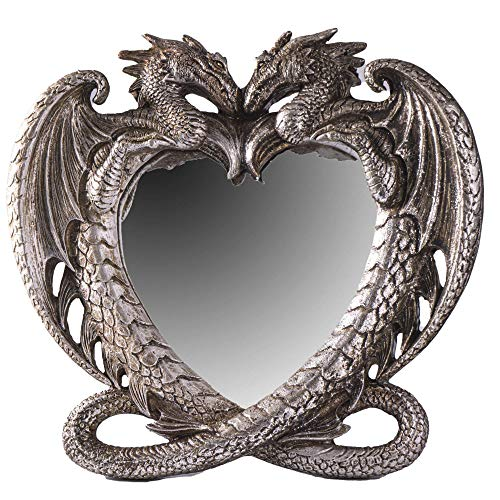 Gothic Heart Shaped Dragon Mirror, Collectible Medieval Home Accent Décor Resin Piece for Wall or...