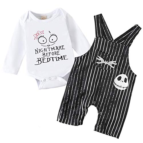 Baby Boy Girl Clothes 2PCs Outfit Set Nightmare Before Bedtime Skull Christmas Clothing Set (Girl...