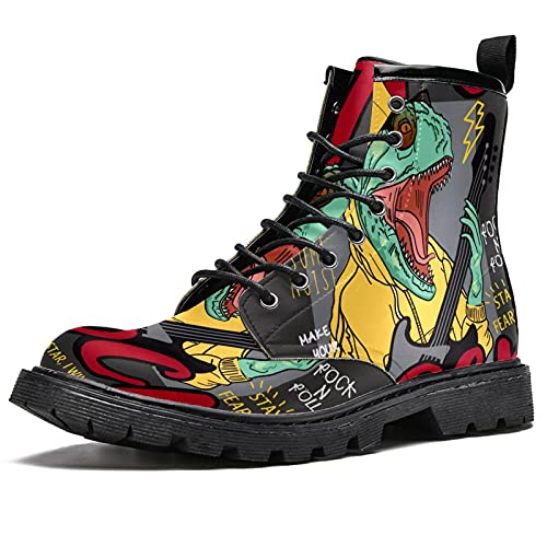 MAPOLO Men's High Top Boots Lace Up Rocker Dinosaur Winter Boots Casual Leather Slip Resistant Ankle...