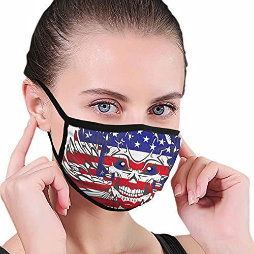 American Flag Wing and Skull Face Mask for Women Men Reusable for Protection Comfortable Mask
