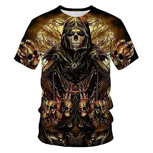 TiwBski Mens T-Shirts 3D Graphic Skull Short Sleeve Tees Funny Printed Summer Tops,Multicolored1,3XL