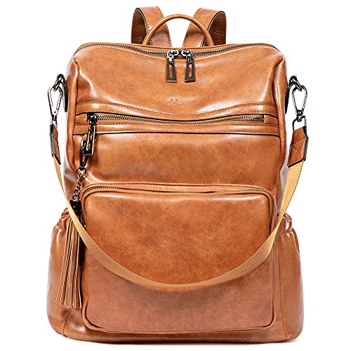Backpack Purse for Women Fashion Two Toned Leather Designer Travel Large Ladies Shoulder Bags with...