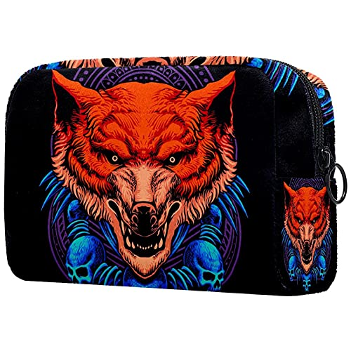 Womens and Girls Funny Oxford Cloth Makeup Bag Animal Wolf Skull Roomy Cosmetic Bag Pouch Purse...