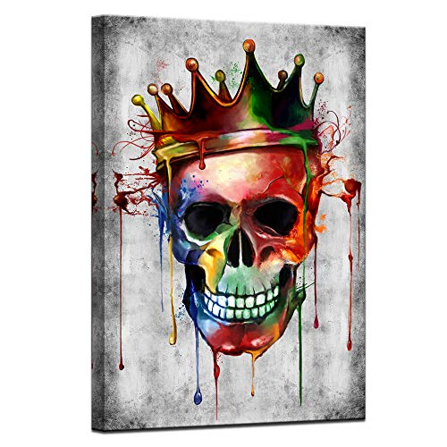 sechars Modern Painting Wall Art Abstract Skull with Crown Picture Poster Canvas Art Vintage Cool...