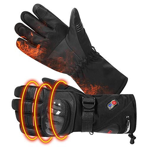 BIAL Heated Gloves with Knuckle Protection Heating Warm Skin Leather Touch Screen Motorcycle Gloves...