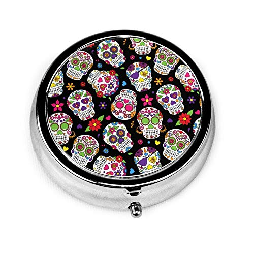 Dead Skull Pattern Round Pill Box with Three Grids and Buttons, Suitable for Small Pills to Carry On...
