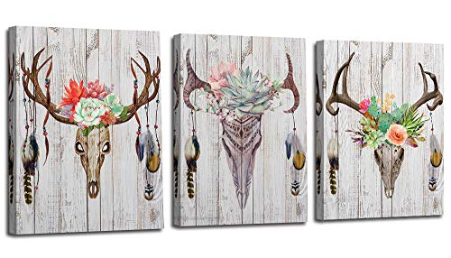 Arjun Canvas Antler Wall Art Deer Head Skull Pictures Indian Feather Modern Stylish, Simple Life...