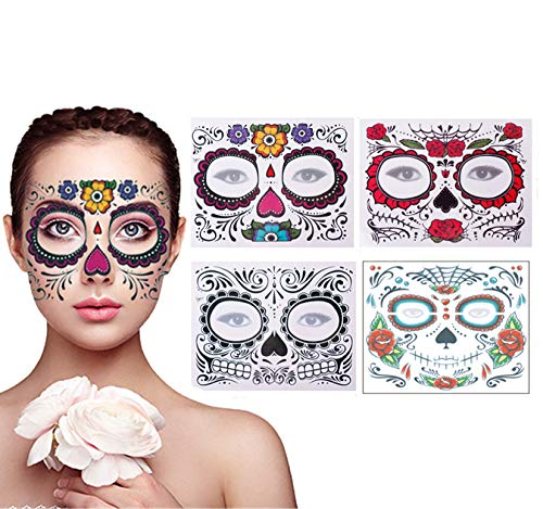 4 Pack Day of The Dead Sugar Skull Face Temporary Tattoo Halloween Makeup Tattoo Stickers for...