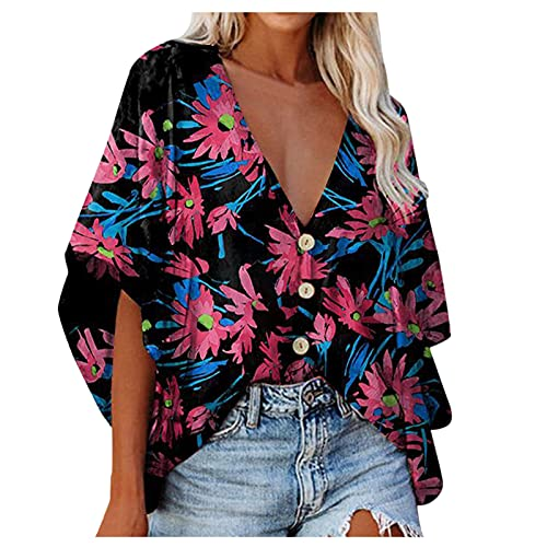 Women's Tie-Dye Shirt Top Floral Printed V Neck Blouse Bell Sleeve Loose Tunics