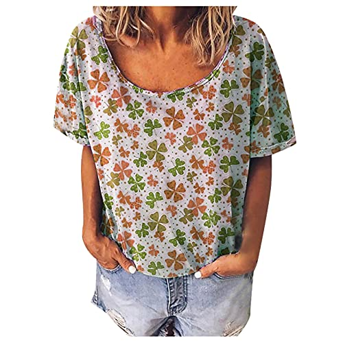 Womens Summer Tops Fashion Trend Summer O-Neck Printed Short Sleeve Tunic T Shirt Casual Loose...