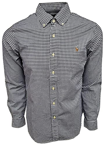 Polo Ralph Laurens Men's Classic Fit Long Sleeve Oxford Shirt (Small, Navy/White Checkers)
