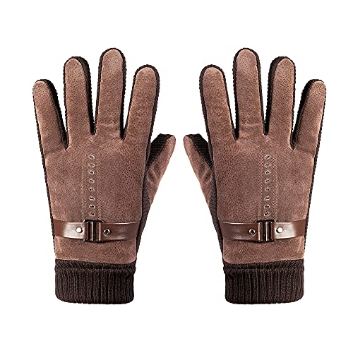 ATHX Unisex Winter Pigskin Leather Windproof Touchscreen Warm Gloves (Brown2, One size)